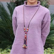 Ethnische Keramik Perlen Quasten Drop Halskette Vintage Pullover lange Halskette Geschenk für Frauen