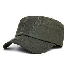 Hombres Algodón Color sólido Gorra plana Sombrilla Casual Aire libre Pico hacia adelante Gorra ajustable Sombrero