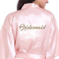 Lovely Ladies Satin Bridesmaid Silky Short Robe Trim Sleeves