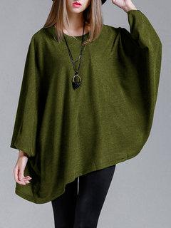 Lose einfarbige Fledermaus Ärmel Pullover