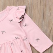 Bow Knot Pattern Baby Long Sleeve Romper For 0-24M