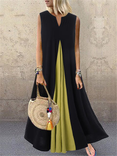 Contrast Color Patchwork Sleeveless Summer Dress For Women