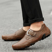 Men Large Size Stylish Crocodile Pattern Buckle Leather Shoes