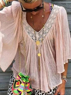 Solid Color Lace Patchwork Half Sleeve Blouse For Women