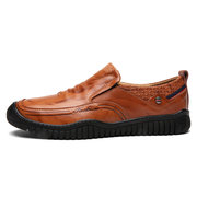 Men Cow Leather Wear-resistant Slip On Casual Shoes