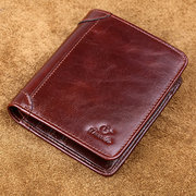 Vintage Genuine Leather Short 10 Card Slots Driver License Trifold Wallet