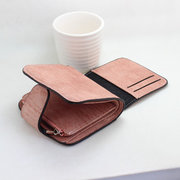 Weaven Short Wallets Girls Hasp 3 Folded Purse Card Holder Coin Bags For Women