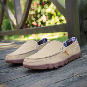Men Washed Canvas Low Top Slip On Soft Sole Comfy Casaul Shoes