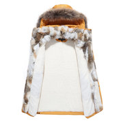 Mid Long Casual Winter Warm Down Parka Coat Furred Hooded Zipper Up Thicken Jacket for Men