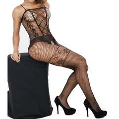 Sexy Transparent Hollow Open Crotch Conjoined Net Tight Jacquard Bodystocking For Women