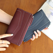 Women Vintage Pure Color Wallet Card Holder Long Purses 5.5inch Phone Bags