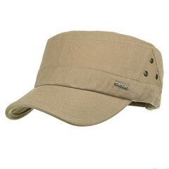 Mens Outdoor Sunshade Cotton Military Cap Casual Adjustable Flat Top Hat With Three Breathable Holes