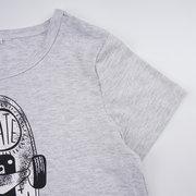 Boys 2Pcs Grey Scooter Print T-shirt Black Short Suit For 6-15Y