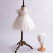Lace Fancy Cotton Flower Girls Wedding Dress with Hat For 0-24M
