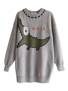 Cartoon Dinosaur Crew Neck Knit Sweater