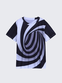 Mens 3D Swirl Printed O-neck Short Sleeve Summer Casual Funny T Shirts