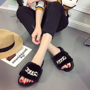 Metal Decoration Soft Pure Colour Plush Slippers For Women
