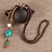 Ethnic Vintage Gourd Beeswax Turquoise Necklace Beaded Sweater Charm Necklace for Women