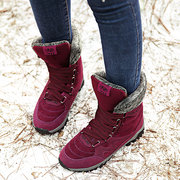 LOSTISY Large Size Women Hook Loop Outdoor Mid Calf Warm Suede Boots