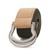 Hebilla de cuero de aleación de anillo de bucle doble de los hombres Cinturón Pantalones tira