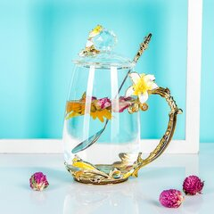 Pink/Yellow Lily Flower Enamel Teacup with Glass Lid and Spoon Beautiful Gift