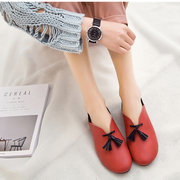SOCOFY Big Size Leather Tassel Color Blocking Driving Shoes