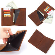Vintage Genuine Leather Minimalist Passport Holder Wallet For Men