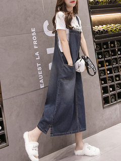 Long Section Slim Denim Strap Dress