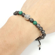 Rock Men Bracelet Green Malachite Gemstone Faceted Matte Hematite Lion Head Beaded Bracelet