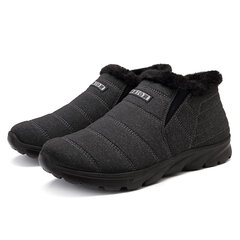 Large Size Men Fabric Fur Lining Warm Slip On Casual Ankle Boots