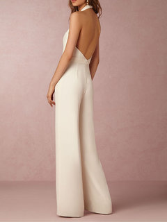 Sexy Pure Color Backless Deep V Halter Jumpsuits