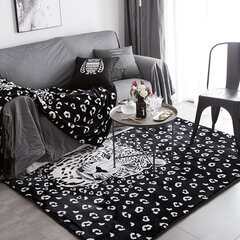 Big Size Black Flannel Area Rugs Warm Carpet Living Room Dining Room Kitchen Anti Skid Foot Mats