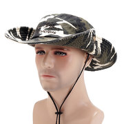 Men Washed Retro Camouflage Pattern Cotton Foldable Breathable Wide Brim Thin Fisherman Hat
