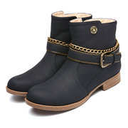 Warm Terry Lining Retro Pure Color Metal Chains Boots For Women