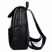 Women Casual PU Leather Black Shoulder Bag School Bag Backpack