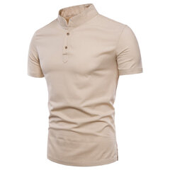 Mens Summer Cotton Linen Vintage Stand Collar Solid Color Slim Casual Buttons T Shirts