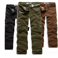 Men's Outdoors Cargo Pants Multi Pockets Casual Loose Cotton Pants Work Overalls