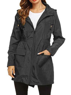 Waterproof Hooded Zipper Drawstring Trench Jacket