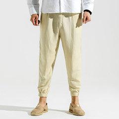 S-4XL Harem Pantaloni in 100% Cotone Traspirabile con Stile Semplice in Colore a Tinta Unita