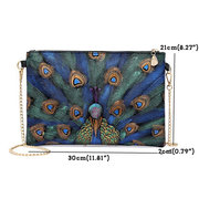 Painted Peacock Faux Leather Chain Shoulder Bag For Women