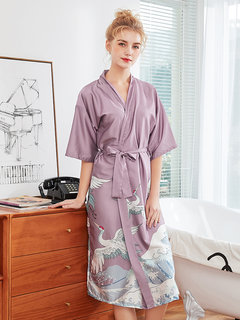 Home Pigiama Bird Print Middle Sleeves Mid-Calf Silk Robe Sleepwear