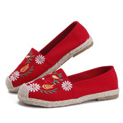 Linen Floral embroidery Canvas Flats