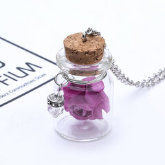 Fashion Glass Tiny Wishing Bottle Charm Necklaces Luminous Flower Long Necklaces for Women