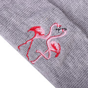 Women Men Winter Warm Embroidery Flamingo Beanies Hat Casual Soft Knitted Caps