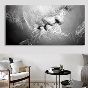 Black & White Love Kiss Abstract Art on CANVAS WALL ART Picture Print A4 A1 A2