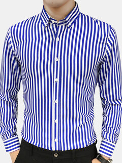 Mens Vertical Striped Slim Simple Style Long Sleeved Shirt