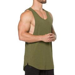 Мужские дышащие свободные футболки без рукавов из хлопка