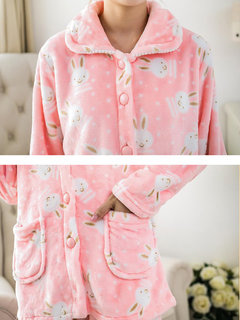 Women's Pajama Set Flannel Turn Down Collar Long Sleeve Warm Home Suit