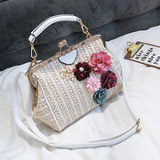 Women Floral Straw Beach Borsa Travel Leisure Boston Crossbody Borsas Borse casual