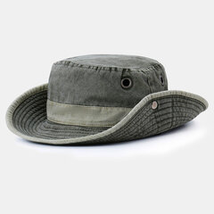 Unisex Cotton Washed Fisherman Hat Sunscreen UV Protection Breathable Adjustable Cap